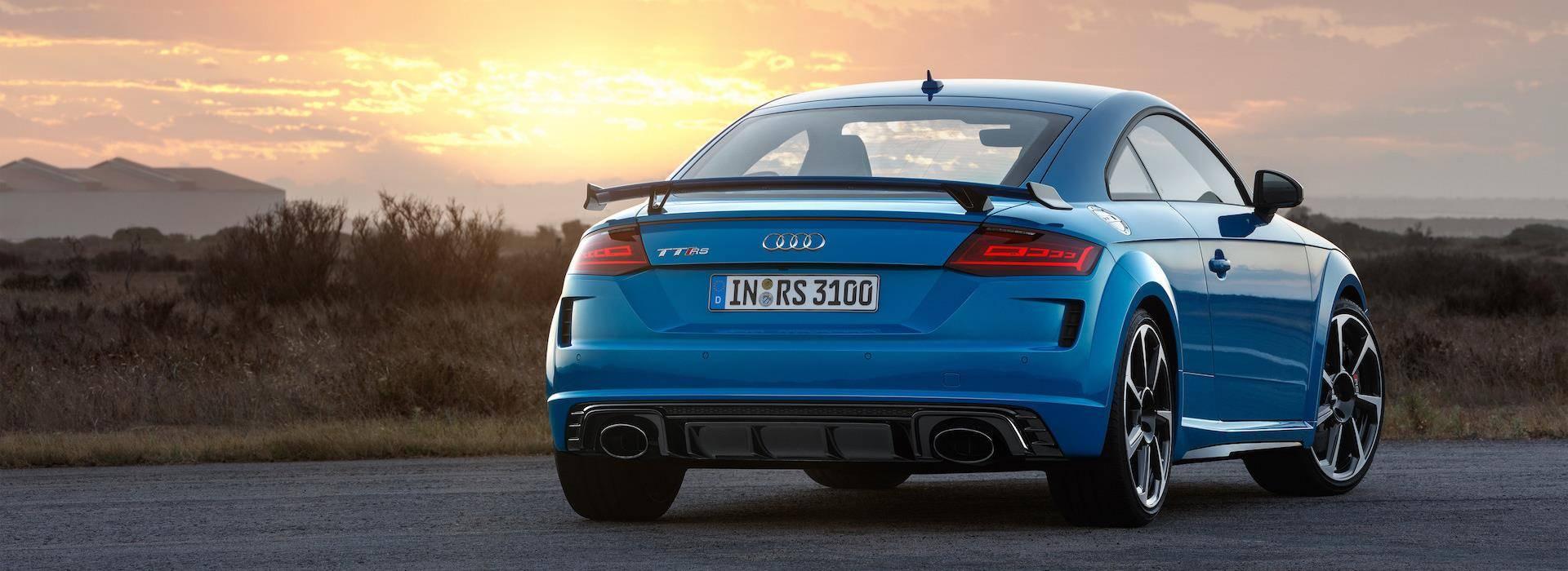 Audi TT RS 2019 bleu avant face Coupé et Roadster