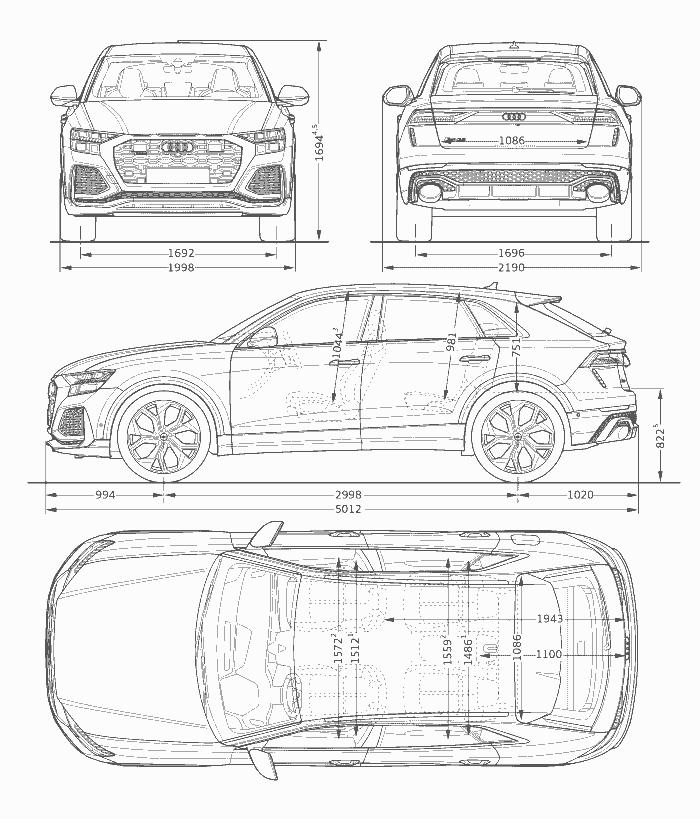 Dimansions Audi RS Q8 longueur largeur hauteur