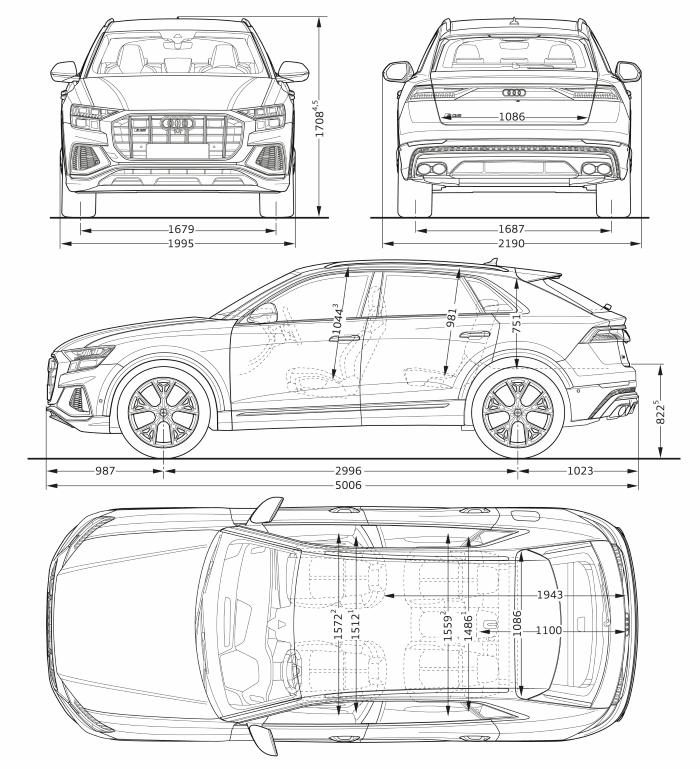 Nouvelle Audi SQ8 TDI 2019 2020 dimensions