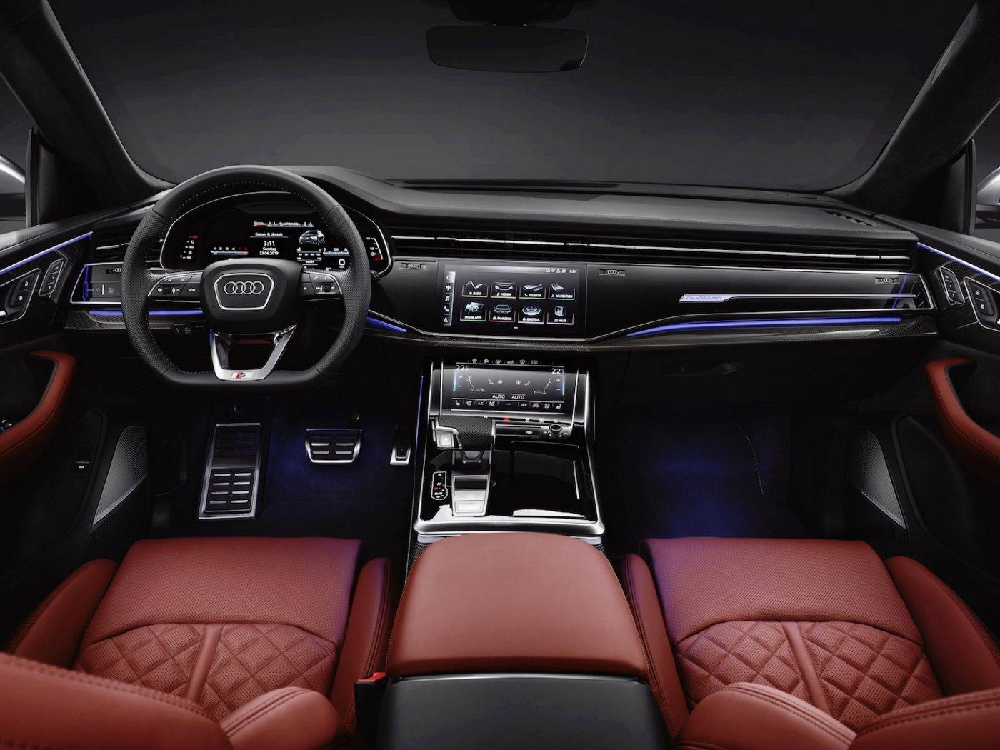 Nouvelle Audi SQ8 TDI 2019 2020 intérieur rouge