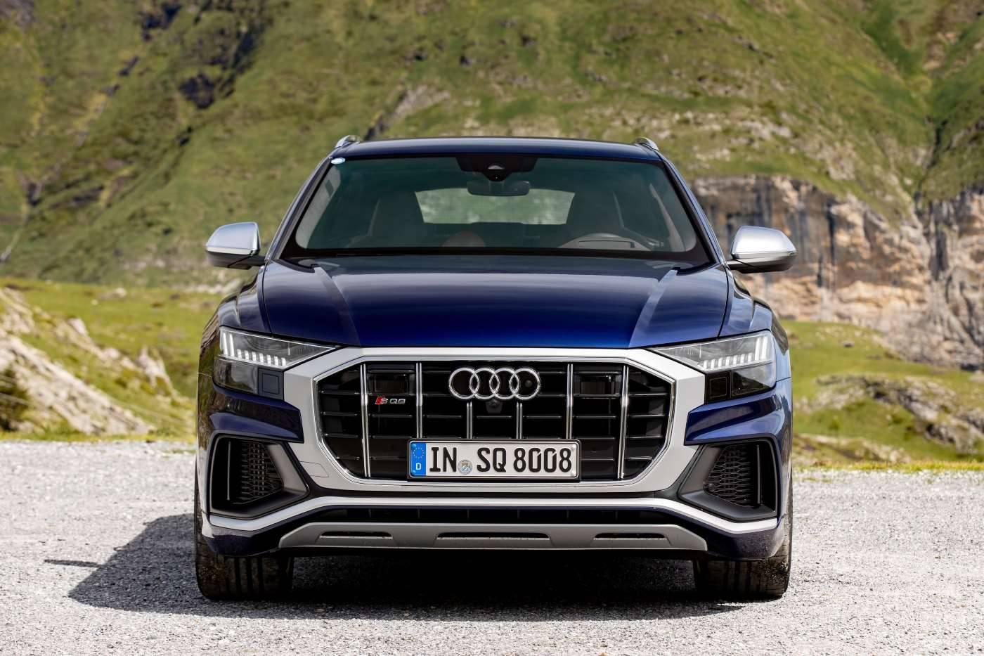 Nouvelle Audi SQ8 TDI 2019 2020 face avant bleu