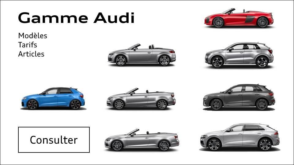 Modèles gamme Audi - catalogues tarifs - articles