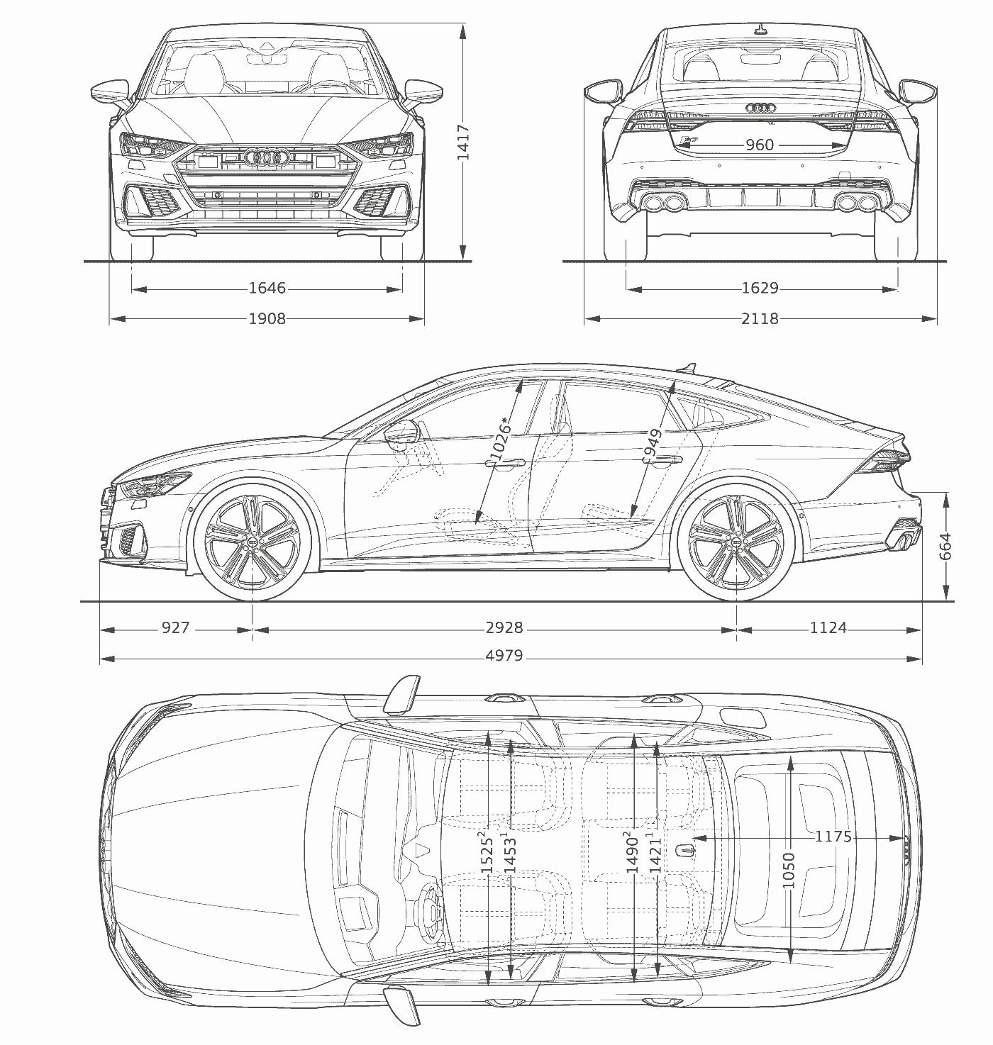 Dimensions Taille longueur Audi S7 Sportback TDI