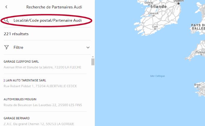 myAudi Localité détail- Tuto choix Partenaire Audi