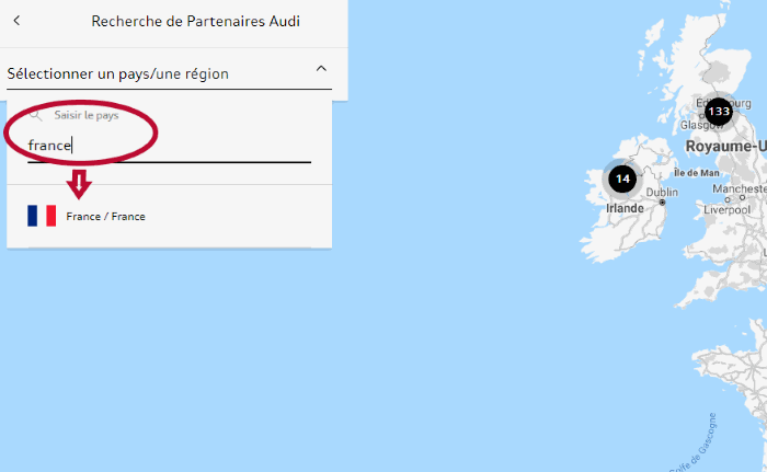 myAudi choisir pays 2 - Tuto choix Partenaire Audi