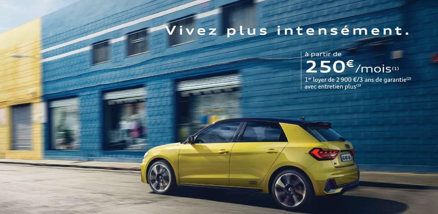 Offre Audi A1 Sportback 250 euros par mois footer