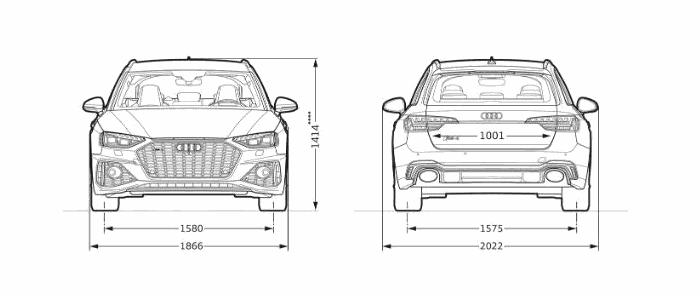 Nouvelle Audi RS4 Avant dimension face dos largeur