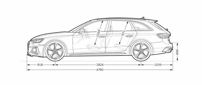 Nouvelle Audi RS4 Avant dimension profil longueur