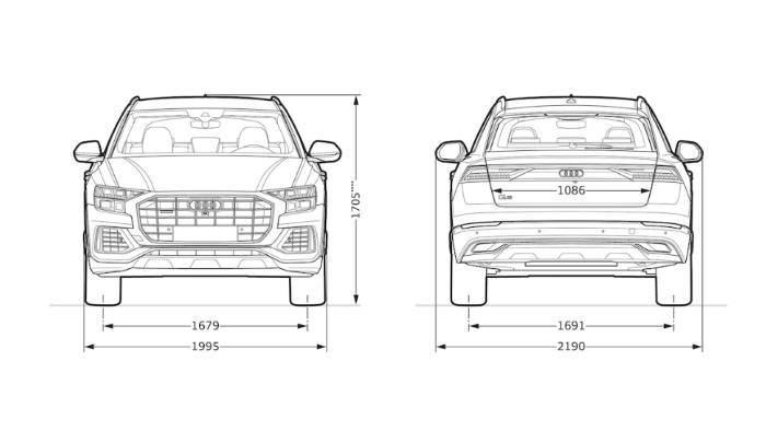 Audi Q8 > Dimensions Face largeur rétro
