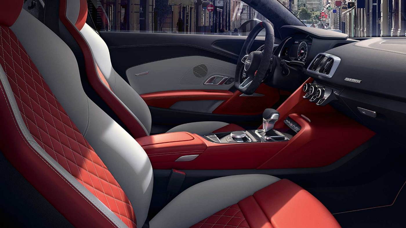Nouvelle Audi R8 coupé V10 intérieur blanc rouge