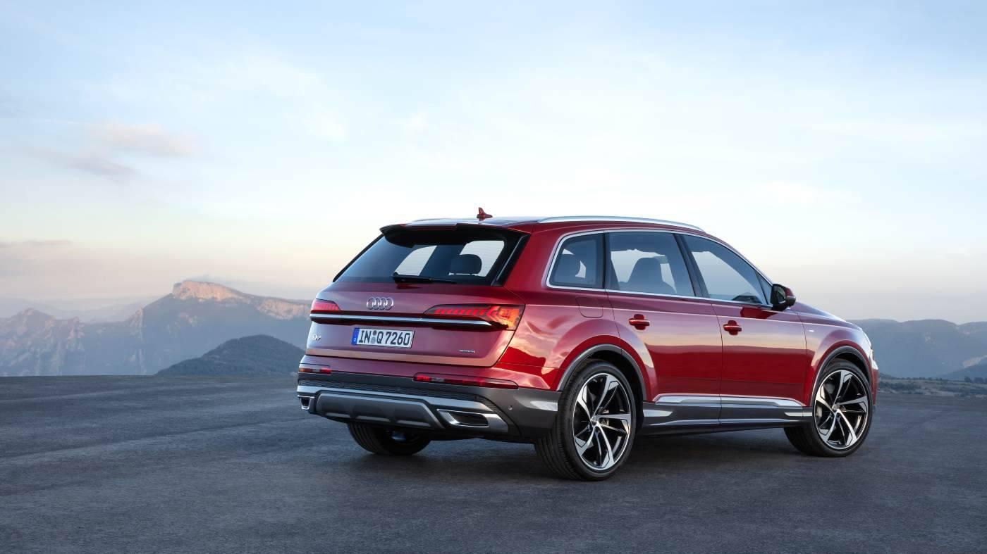 Nouvelle Audi Q7 2019 2020 rouge 3/4 arrière