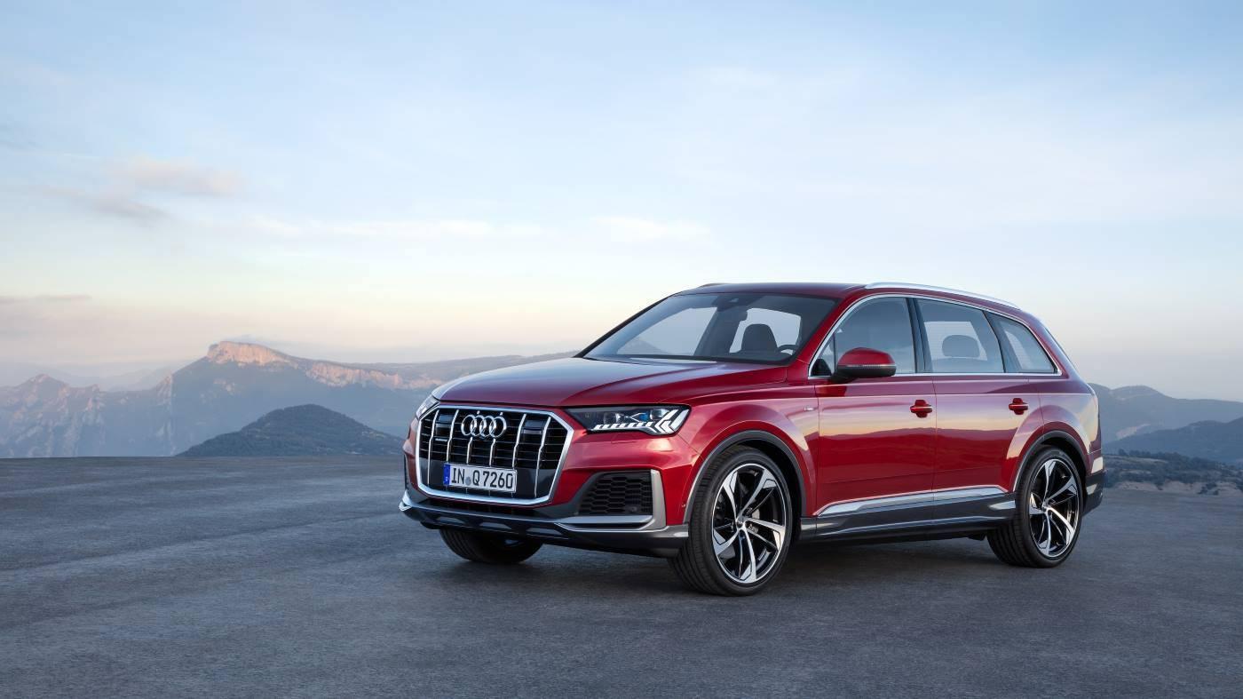 Nouvelle Audi Q7 2019 2020 rouge 3/4 avant