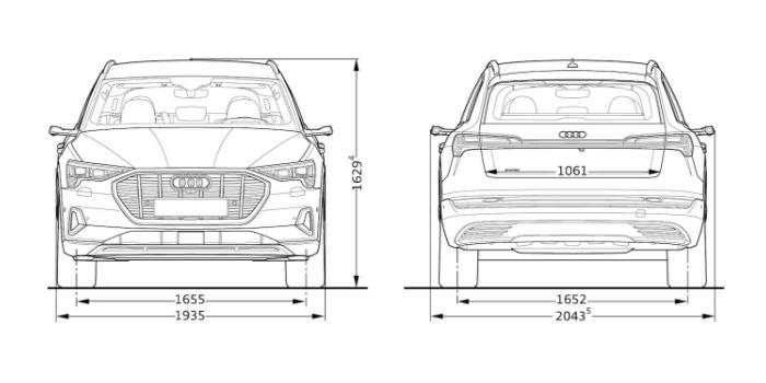 Audi e-tron dimension largeur hauteur face et arri