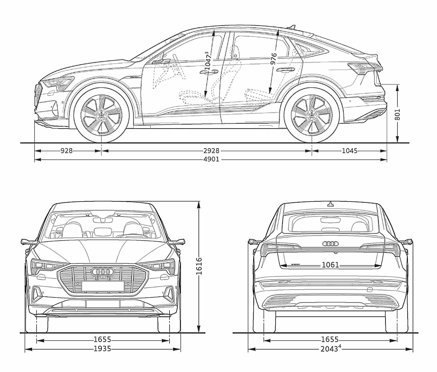 Dimensions Audi e-tron Sportback longueur largeur