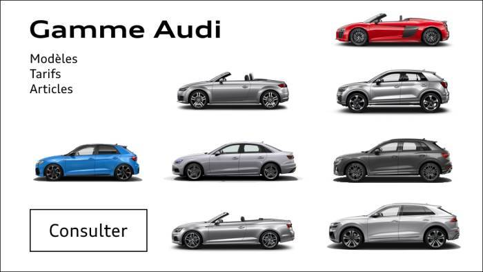 Prix Audi A1 A3 A4 A5 A6 Q2 Q3 Q5 Q7 Q8 e-tron R8