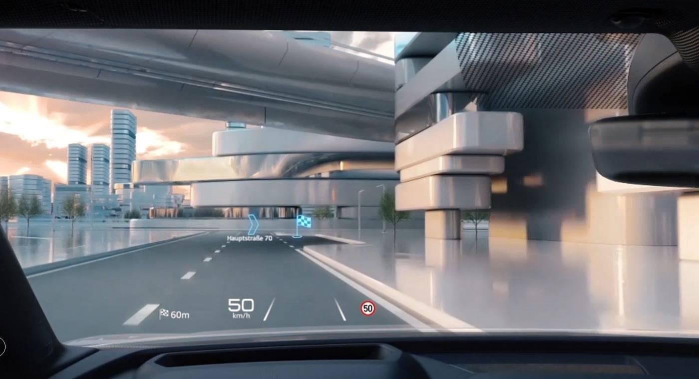 Navigation Audi Q4 affichage pare brise