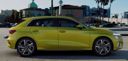 Nouvelle Audi A3 Sportback 2020 profil jaune