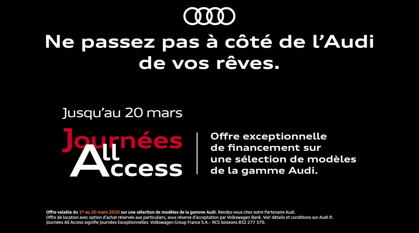 Journée All Access Audi taux promo audi neuve