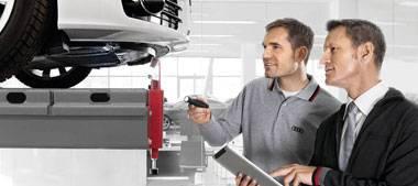 Controle Audi sur  pont sous vehicule atelier