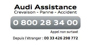 Audi Assistance : 0 800 28 34 00