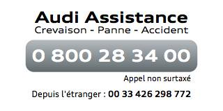 Numéro téléphone Audi Assistance : 0800 28 34 00